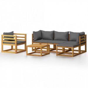 Set mobilier de grădină cu perne, 6 piese, lemn masiv acacia
