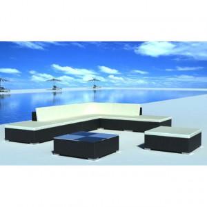 Set mobilier de grădină cu perne, 8 piese, negru, poliratan