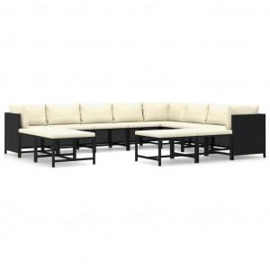 Set mobilier grădină cu perne, 12 piese, negru, poliratan