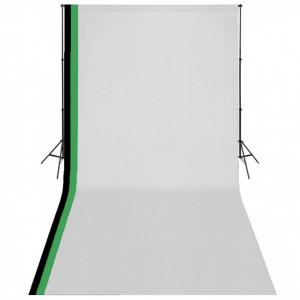 Set studio foto cu 3 fundaluri de bumbac, cadru reglabil, 3x6 m