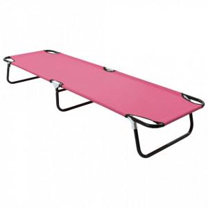 Șezlong de plajă pliabil, roz, oțel