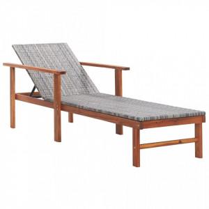 Șezlong, gri, poliratan și lemn masiv de acacia