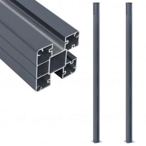 Stâlpi de gard, 2 buc., gri închis, 185 cm, aluminiu