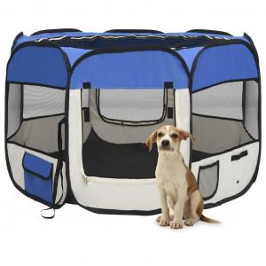Țarc joacă pliabil câini cu sac de transport albastru 90x90x58 cm