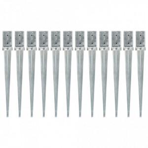 Țăruși de sol, 12 buc., argintiu, 8x8x76 cm, oțel galvanizat