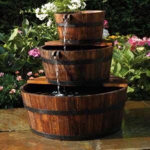 Ubbink Fântână de grădină tip cascadă 3 butoaie din lemn