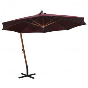 Umbrelă suspendată cu stâlp, roșu bordo, 3,5x2,9 m, lemn brad
