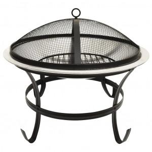 Vatră de foc 2-în-1 grătar/vătrai, 56x56x49 cm, oțel inoxidabil
