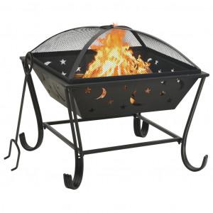 Vatră de foc cu vătrai, 62 cm, oțel, XXL