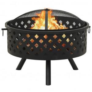 Vatră de foc cu vătrai 68 cm oțel XXL