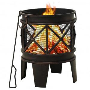 Vatră de foc rustică, cu vătrai, Φ42x54 cm, oțel