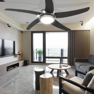 Ventilator tavan decorativ cu iluminare, 128 cm, maro