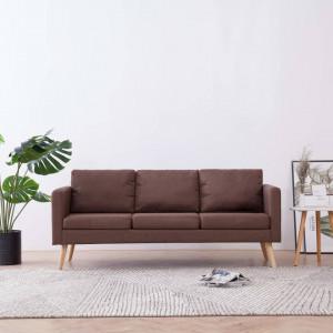 Canapea cu 3 locuri, maro, material textil