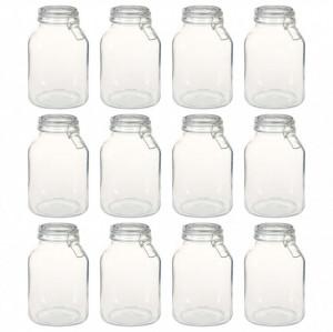 Borcane din sticlă cu închidere ermetică, 12 buc., 3 L