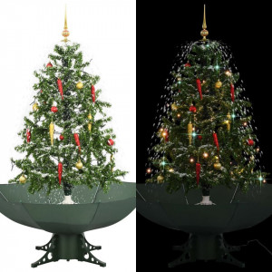 Brad de Crăciun cu ninsoare și bază umbrelă, verde, 140 cm