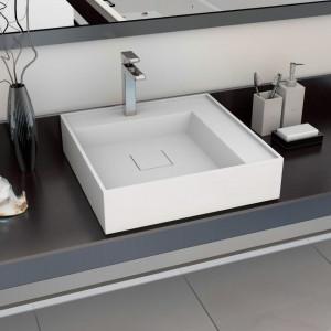 Chiuvetă, alb, 50 x 50 x 12,3 cm, compozit mineral/marmură