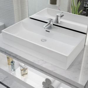 Chiuvetă baie, orificiu robinet, ceramică, 76x42,5x14,5 cm, alb
