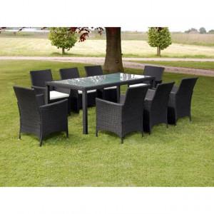 Set mobilier de exterior cu perne, 9 piese, negru, poliratan