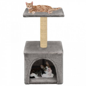 Ansamblu pentru pisici, stâlp cu funie de sisal, 55 cm, gri