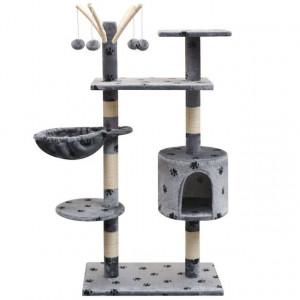 Ansamblu pisici, funie de sisal, 125 cm, imprimeu lăbuțe, gri