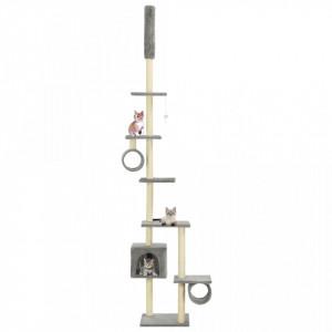 Ansamblu pisici, stâlpi funie sisal, 260 cm Gri