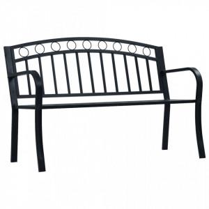 Bancă de grădină, negru, 125 cm, oțel