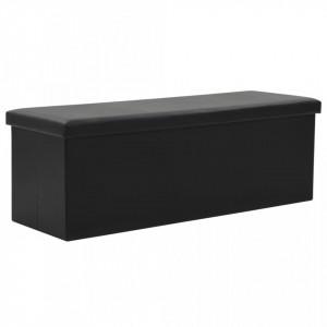 Bancă depozitare pliabilă, imitație piele, 110x38x38cm, negru