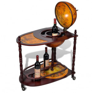 Bar sticle de vin, tip glob pământesc, lemn, independent