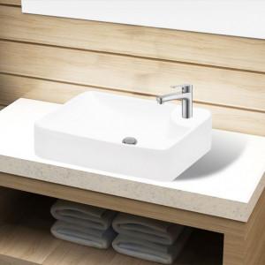 Bazin chiuvetă de baie din ceramică cu gaură pentru robinet, alb