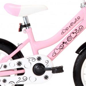 Bicicletă copii cu suport frontal, alb și roz, 14 inci