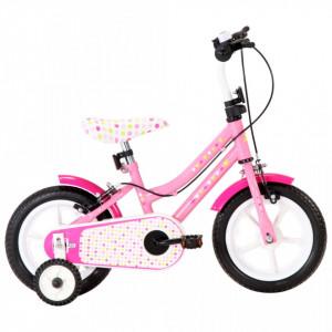 Bicicletă pentru copii, alb și roz, 12 inci