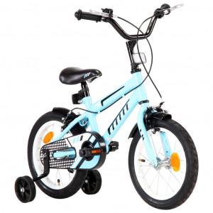 Bicicletă pentru copii, negru și albastru, 14 inci