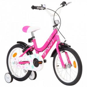 Bicicletă pentru copii, negru și roz, 16 inci