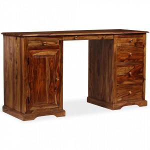 Birou scris cu postament, lemn masiv de sheesham 140x50x76 cm