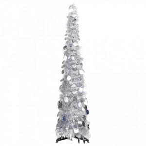 Brad de Crăciun artificial tip pop-up, argintiu, 120 cm, PET
