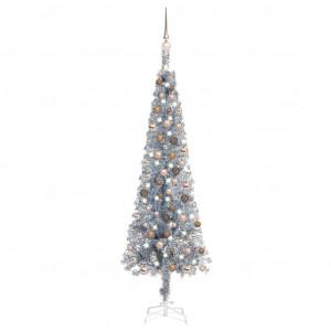 Brad de Crăciun subțire cu set LED-uri&globuri argintiu 150 cm