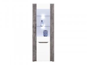 Brando b5 vitrina l/p white/beton/white high gloss