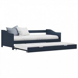 Cadru pat canapea, extensibil, gri, 90 x 200 cm, lemn de pin