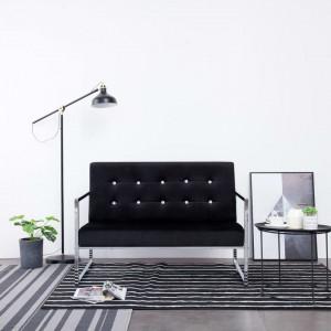 Canapea cu 2 locuri cu brațe, negru, crom și catifea