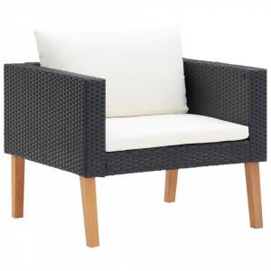 Canapea de grădină cu perne pentru o persoană, negru, poliratan