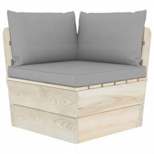 Canapea de grădină din paleți, colțar, cu perne, lemn molid
