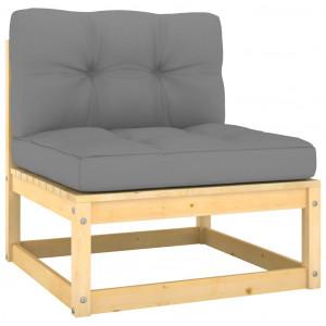 Canapea de mijloc de grădină cu perne gri, lemn masiv de pin