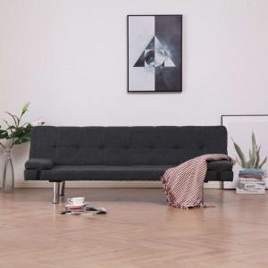 Canapea extensibilă cu două perne, gri închis, poliester
