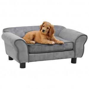 Canapea pentru câini, gri, 72 x 45 x 30 cm, pluș