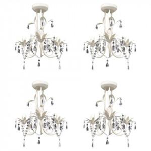 Candelabre suspendate de plafon cu cristale 4 buc. alb elegant