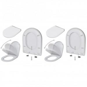 Capace WC cu închidere silențioasă, 2 buc., alb, plastic