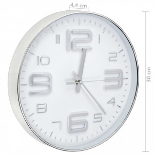 Ceas de perete, argintiu, 30 cm
