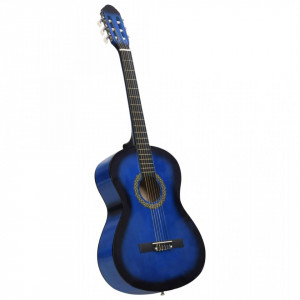 """Chitară clasică începători, albastru, 4/4 39"""", lemn de tei"""