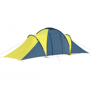 Cort camping, 6 persoane, albastru și galben