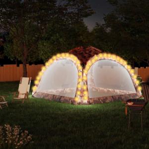 Cort de petrecere cu LED și 4 pereți, camuflaj, 3,6x3,6x2,3 m